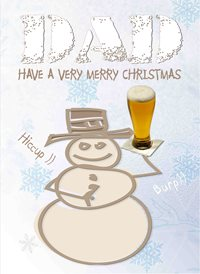 Quirkytags... MERRY SNOWMAN DAD Christmas Dad snowman beer lager funny humour z%a personalised online greeting card