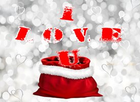 Christmas love snow hearts sack z%a personalised online greeting card