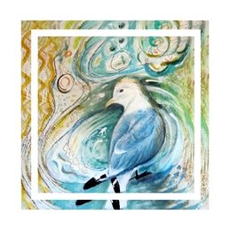 art bird, seabird, seagull, kittiwake, painting, personalised online greeting card