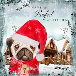 CHRISTMAS PUGS dogs personalised online greeting card