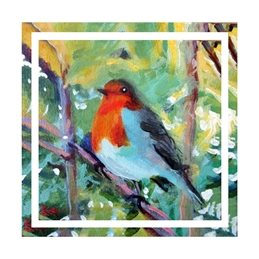 Bee Skelton Robin art robin, robin redbreast, bird, Christmas, painting, personalised online greeting card