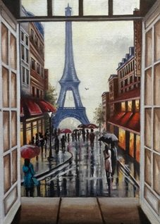Art By Three  Paris Through a Window Art Paris Eiffel Tower city scene romantic for-him for-her general blank all occasions her landscapes windows rain umbrellas people france shops personalised online greeting card