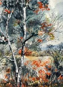 Sheila O'Brien Artwork Trees in Winter Trees winter watercolour personalised online greeting card
