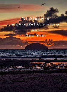 christmas year Christmas, Xmas, sunset, peaceful, seashore, coast, serene, peaceful, tranquil, warm, scotland personalised online greeting card