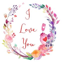 DiSigned4U Floral I love you Valentines valentines, love, romantic, birthday, i love you, floral, flowers, women, ladies, pink, girls, wedding, anniversary, children's personalised online greeting card