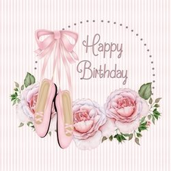 Birthday girl, roses, ballet shoes personalised online greeting card