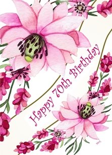 Birthday Pink purple flowers Happy  personalised online greeting card