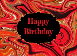 Birthday Abstract, black, red, for-him, for-her personalised online greeting card