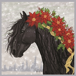 Christmas Friesian, Poinsettia, Christmas Star, Horse, Flowers, Winter, Snowfall, Snowflakes, Pine Trees, Forest, Whimsical, Holidays personalised online greeting card