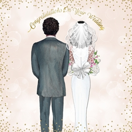 wedding Bride, Groom, Gold,  personalised online greeting card