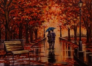 Art couples art blank general all occasions for-him for-her  lovers anniversary girlfriends boyfriends  autumn walking romantic umbrellas landscapes parks trees leaves rain benches orange pathways lampposts oils personalised online greeting card