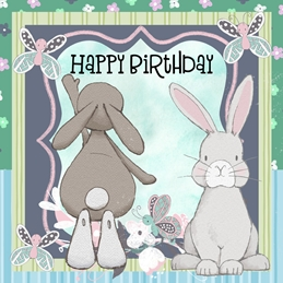 Birthday  BIRTHDAY rabbits personalised online greeting card