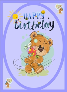 Her Nibs  Button bear 1 Birthday children For Children For him For her Bear Flowers Sun Brown Blue Red Yellow Happy  personalised online greeting card