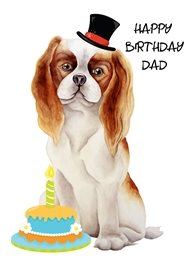 Birthday Dog, Spaniel, Cake, dad animals personalised online greeting card