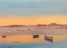 art Topsham, Devon, Riverscape, river, boats, sunrise z%a personalised online greeting card