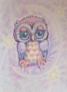 Little Liz Happy Art Roberta General owl, stars, moon, cute, whimsical, bird, night sky, for-her, for-children personalised online greeting card