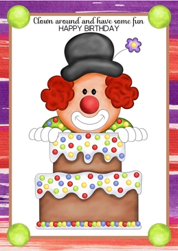 Clown Around Birthday card