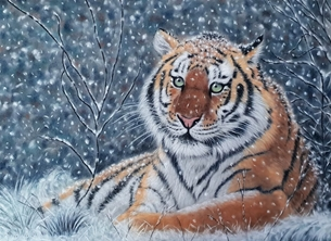 Art tiger snow christmas animal wildlife big cat nature personalised online greeting card