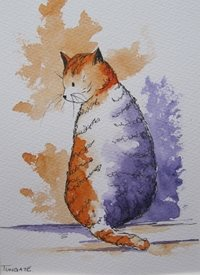 art Cat, animals, pets, thoughtful, kitten, personalised online greeting card