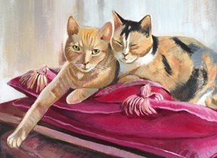 fineart Cat portrait fine art painting cats personalised online greeting card