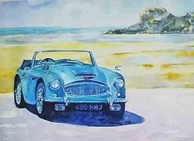 art  artwork car Healey beach sea for-him personalised online greeting card