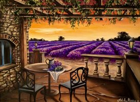 Art By Three  Lavender of Provence fineart lavender fields flowers  oils art blank general all occasions for-him for-her mums aunts sisters countryside floral herbs  Provence purple summer fineart vases tables chairs patios landscape France sunset  personalised online greeting card