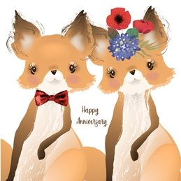 Anniversary Foxes, Woodland Animals, Wildlife personalised online greeting card