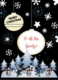 Quirkytags... ALL THE FAM AT CHRISTMAS Christmas family tree snowman z%a personalised online greeting card