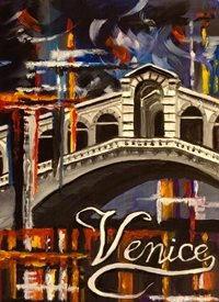 Art By Three   Carnival at Rialto Bridge General Art venice Italy carnivals rialto bridges general for-him for-her blank all occasions celebrations him her water red blue orange  personalised online greeting card