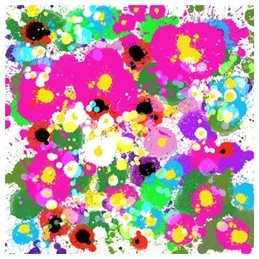 art spring abstract flowers garden bright cheerful happy pinks yellow white purple blue multicoloured modern trend  personalised online greeting card