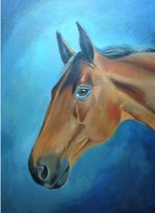 Mary Dodd Art Archie 2 artist general Brown Horse portrait painting  art card artist birthday anniversary horses personalised online greeting card