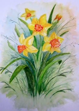 Art daffodils flowers spring for-her for-mum yellow watrecolours mothersday personalised online greeting card
