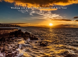 christmas year Christmas, Xmas, sunset, serene, tranquil, peaceful, warm, bangor, sea, coast, northern ireland, andbc,  personalised online greeting card