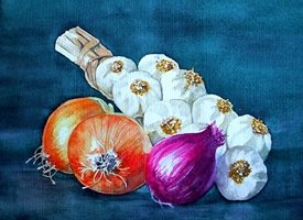 General artwork alliums onions vegetables for-him for-her personalised online greeting card