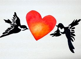 General artwork love Valentine heart birds for-her personalised online greeting card
