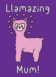 Mothers birthday Llamazing llama mum kawaii pun cute funny birthday mother's day new mum thank you personalised online greeting card