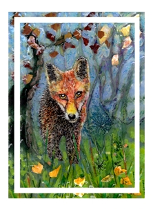 art Fox, nature, wild life, animal art, personalised online greeting card
