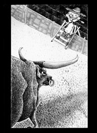 General bull, bull riding, rodeo, cowboy, farmer, gag, comic, black and white, funny, silly, straw hat, hatching, ink, longhorn personalised online greeting card