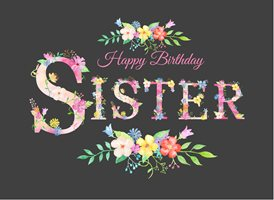 birthday Floral, Flowers, Alphabet sister z%a personalised online greeting card