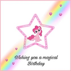Elegant cards  Children's birthday  Birthday Girl , pony  , magic , rainbow , happy ,  personalised online greeting card