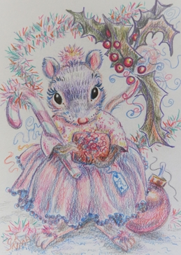 Little Liz Happy Art Christmas mouse general children for-her, for-kids, Mouse, girl, female, pink, lilac, pretty, girlie, holly, tinsel, present, bauble, gift, cute  personalised online greeting card