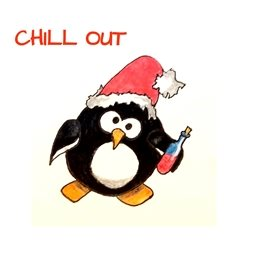 EmilyJane Chill Out at Christmas  Christmas Penguin animals wildlife black red white humorous  funnydad son  granddad  uncle mum daughter Nan aunt friend personalised online greeting card