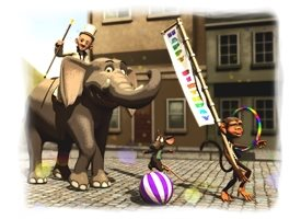 General parade animals circus elephant mouse monkey personalised online greeting card