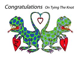 wedding congratulations cartoon dinosaurs animals personalised online greeting card