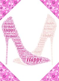 Birthday female shoes pink feminine  personalised online greeting card