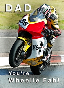 NorthLight Photo-Art Father's Day Racer 2 Fathers birthday for-him, father's day, father, dad, motorcycle, motorbike, racer, racing, photograph personalised online greeting card