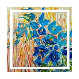 art flowers, blue floral, painting, personalised online greeting card