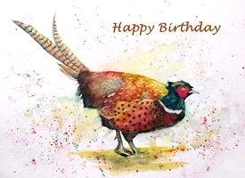 Birthday artwork pheasant bird wildlife for-him for-her personalised online greeting card