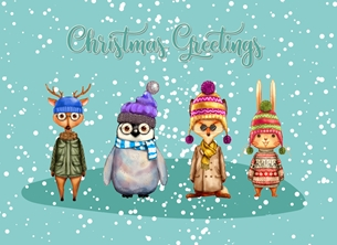 Christmas Animals, Snow, Winter, Cute, Whimsical personalised online greeting card