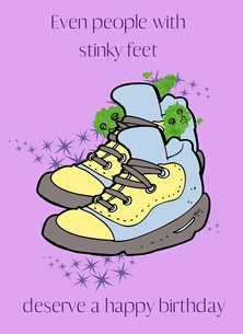 Her Nibs  Stink Feet  Birthday For Him Smelly Trainers Feet Purple Green Yellow Grey  Funny Humorous  personalised online greeting card